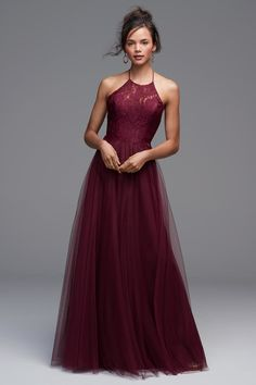 Watters 4604 is the Rory bridesmaid dress that has a sophisticated high-neck Aria Lace halter bodice. The open back and flirty layered Bobbinet skirt create an effortlessly chic ensemble. Mob Dresses, Grad Dresses, Wedding Bridesmaid Dresses, Evening Dresses, Formal Dresses, Maroon Gowns, Burgundy Bridesmaid Dresses Long, Lace Burgundy Dress, Bridesmaids