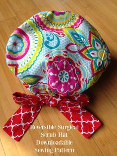 Scrub Hat Sewing Pattern for a reversible surgical cap. New sewing pattern for a Reversible, fully lined surgical scrub hat. This style can either be worn with the bow in front as shown or tied in back with a huge pretty bow. Its like having three or even four hats in one depending how