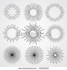 Set of vintage hand drawn sunbursts - stock vector