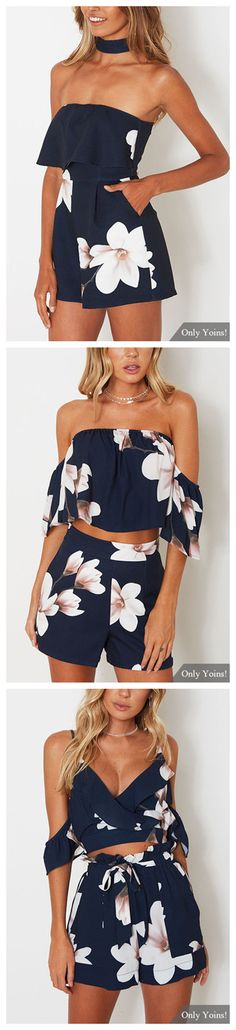 Off Shoulder Random Floral Print Crop Top & Short Co-ord
