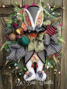 Couronne de Pâques, lapin de Chapelier fou, chapeau haut de forme lapin, Couronne, Alice au pays des merveilles Couronne, couronne de Pâques XL de printemps