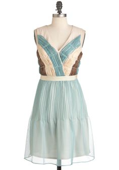 Siren of the Sea Dress by Ryu - Mid-length, Blue, Brown, Tan / Cream, Pleats, Wedding, Party, A-line, Sleeveless, Spring, French / Victorian