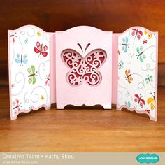Tri Fold Shadowbox Card - Butterfly - Such an elegant fold and die cut to create this beautiful shadow box card perfect for Mother's Day.