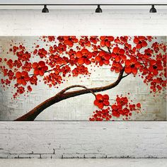 Large Size Modern Oil Painting On Canvas Palette Knife Blooming Red Flowers Tree Paintings Wall Art Home Decoration Hand Painted