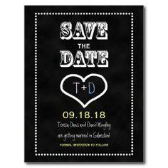 Save the Date Chalkboard Postcard