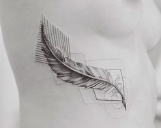 Geometrical Tattoos By Jasper Andres Beautifully Fuse Geometry With Nature Quill Pen Tattoo, Feather Pen Tattoo, Feather Tattoo Design, Owl Tattoo Design, Flower Tattoo Designs, Nature Tattoos, Body Art Tattoos, New Tattoos, Hand Tattoos