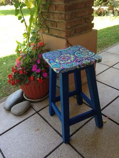 Painted Wooden Chairs, Wooden Stools, Hand Painted Furniture, Bohemian Furniture, Funky Furniture, Designer Bar Stools, Homemade Art, Reclaimed Furniture, Painting On Wood