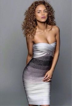 Gradient Bandeau Bandage Dress - Shop > http://www.vestryonline.com/Product/107/4362/Grey-Gradient-Bandeau-Bandage-Dress