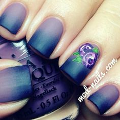 Purple rose nail art