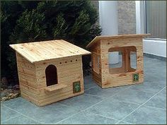 how to build your own owl houses- the left one is for the Barn Owl and the right…