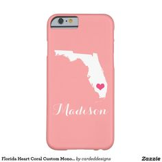 Florida Heart Coral Custom Monogram Barely There iPhone 6 Case