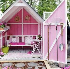 As a gardening shed and shady seating area, this bright-pink She Shed is perfect for somebody with a green thumb. As a gardening shed and shady seating area, this bright-pink She Shed is perfect for somebody with a green thumb. Backyard Storage Sheds, Storage Shed Plans, Backyard Sheds, Garden Sheds, Outdoor Storage, Diy Storage, Storage Ideas, Small Storage, Backyard Bar
