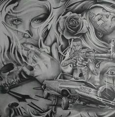 Art Chicano, Chicano Drawings, Cholo Art, Chicano Tattoos, Art Drawings, Skull Tattoos, Art Tattoos, Tattoo Drawings, Tatoos
