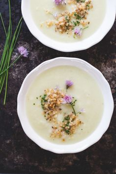 Learn how to make a delicious, simple cauliflower soup. The secret is to the cook the cauliflower in batches for the ultimate depth of flavor. - Soup      1 tbsp. butter     1 tsp. olive oil     1 leek, white + light green part only     1 small onion     1 small cauliflower     water     salt + pepper