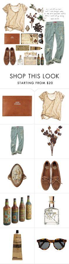 """So I cut off my hair and rode straight away"" by cassie-paulke ❤ liked on Polyvore featuring Acne Studios, Calypso St. Barth, Pier 1 Imports, Bass Weejuns, Aesop and Illesteva"