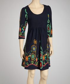 Take a look at this Reborn Collection Navy Floral Three-Quarter Sleeve Dress on zulily today!