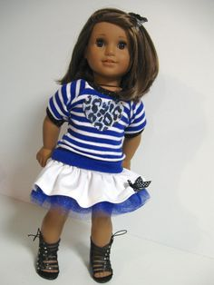 American Girl Doll Royal Stripes by 123MULBERRYSTREET on Etsy, $25.00