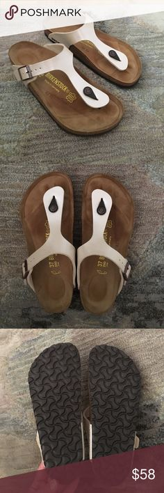 Birkenstock Gizeh sandals, antique lace, size 37 Birkenstock Gizeh sandals, LIKE NEW, worn once, size 37 (fits like a US 7/8), amazing condition, color: graceful antique grace, contoured cork footbed conforms to foot, shock absorption Birkenstock Shoes Sandals