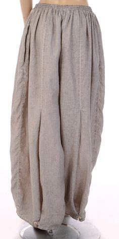 "Barbara Speer Natural ""Old Dye"" Linen Tulip Trouser"