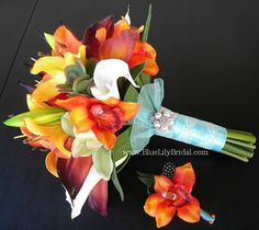 Blue Lily Bridal: Beach Wedding Bouquet  with Real Touch Tropical Flowers.