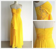 Strapless Sweetheart With Beading Yellow Chiffon Prom Dresses Party Dress, Evening Dresses, Prom Gown by MiLanFashion, $158.00