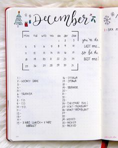 December Goals - Bullet Journal Monthly Spread