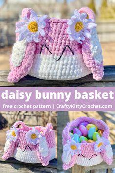 Free Crochet, Crochet Hats, Crochet Baskets, Easter Crochet Patterns, Blanket Yarn, Holiday Crochet, Free Pattern, Daisy, Bunny