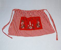 Red and white striped Christmas apron by HappyCloudImports on Etsy, $7.50