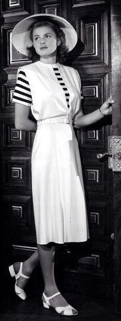 Ingrid Bergman wearing a jumper dress designed by Orry-Kelly, 'Casablanca', 1942