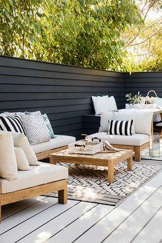 Three Birds Renovations – House 9 – Exterior – Outside Entertaining Outdoor Sofa, Outdoor Seating, Outdoor Rooms, Outdoor Living, Outdoor Decor, Ikea Outdoor, Small Outdoor Spaces, Outdoor Balcony, Outdoor Cushions