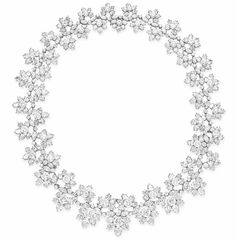 Harry Winston - Diamond Necklace - Designed as a graduated series of circular and pear-shaped diamond florets, to the undulating circular and marquise-cut diamond line, mounted in platinum, 1968, 19¾ ins., may be also be worn as a choker necklace and bracelet of 13 and 6¾ ins. resepctively Signed H.W. for Harry Winston, no. 31829