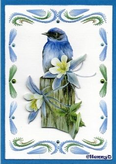 Cake Painting, Painted Cakes, Paper Embroidery, Edge Stitch, String Art, Blue Bird, Birds, Pattern, Flower Cards