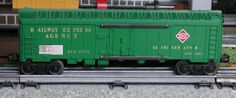 Lionel postwar # 6572 Railway Express Agency light green refrigerator car.