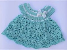 Best 10 This beautiful crochet pineapple stitch baby dress featured in the video below is for a baby one year old. The beautiful crochet pineapple stitch baby dress free pattern is easy to adjust to bigger or smaller sizes by changing the starting chain. Crochet Baby Dress Pattern, Crochet Baby Clothes, Crochet Patterns, Embroidery Patterns, Crochet Dresses, Crochet Flower, Granny Stripes, Crochet Stitches, Knit Crochet