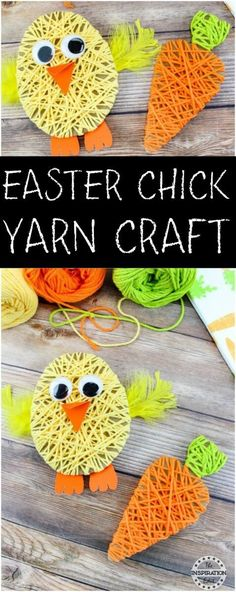 Easter Chick Yarn Art Project #eastercrafts #kidsactivities #spring