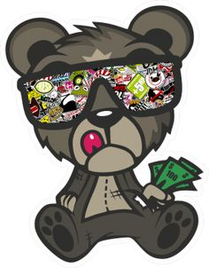 Sticker bomb Jdm Bandit Assis John Jdm, Graffiti Doodles, Graffiti Characters, Sticker Bomb, Chicano Art, Cartoon Design, Dope Art, Stickers, Cool Logo