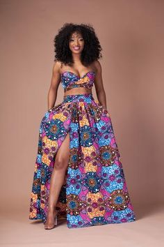 Floral Print Strapless Crop Top with High-waisted Long Skirt Two Pieces Dress Set – African Fashion Dresses - African Styles for Ladies African Fashion Designers, African Print Fashion, Africa Fashion, Tribal Fashion, African Print Dresses, African Fashion Dresses, African Dress, African Style, Ankara Fashion