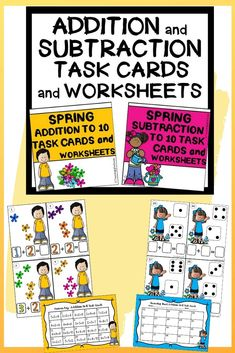 Spring Addition and Subtraction to 10 Task Cards and NO PREP Worksheets Kindergarten Readiness, Teaching Kindergarten, Types Of Education, Early Finishers, Recording Sheets, Dry Erase Markers, Number Sense, Addition And Subtraction, Elementary Math