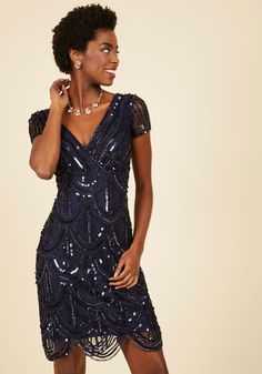 Cascading Cava Sequin Dress in Midnight. You feel bubbly and beautiful as you mingle in this art-deco-inspired dress! #blue #modcloth