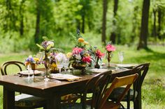 Wood Table and Mismatched Wood Chairs | photography by http://www.justinebursoni.com/