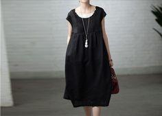 Loose Fitting Long Maxi Dress - Summer Dress Four Color Short Sleeve Linen Dress Sundress for Women M,L