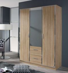 Buy Rauch Marl 4 Door 2 Drawer 2 Mirror Combi Wardrobe in Oak and Chrome Handle Trims - W online by Rauch from CFS UK at unbeatable price. Oak Wardrobe, Wardrobe Door Designs, Simple Wardrobe, Wooden Wardrobe, Retro Furniture, Cool Furniture, Wooden Almirah, Moving Home, Chrome Handles