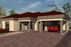 Overall Dimensions- 1 Car GarageArea- Square metres Modern Bungalow House Plans, Tuscan House Plans, Modern House Facades, Bungalow House Design, Single Floor House Design, House Roof Design, Village House Design, Facade House, Round House Plans