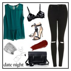 """night date"" by chintyar ❤ liked on Polyvore featuring Zara, La Perla, Topshop, Gianvito Rossi, The Cambridge Satchel Company, NARS Cosmetics, Miss Selfridge, DateNight, drivein and summerdate"