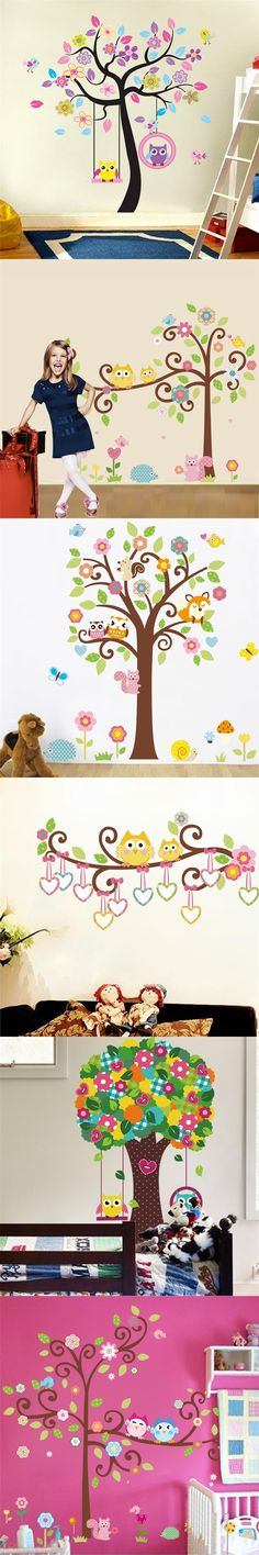 Kawaii owls wall stickers kids bedroom decorations nursery cartoon children girls home decals 78ab animals tree mural arts 3.0