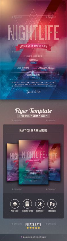 Nightlife Flyer — Photoshop PSD #template #flyer • Available here → https://graphicriver.net/item/nightlife-flyer/6597806?ref=pxcr