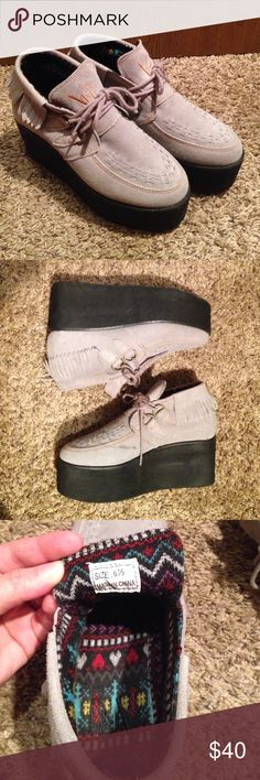 YRU grey creepers Grey YRU creepers, perfect for fall and winter, only worn a couple of times, awesome condition.. size 6.5 but fits about half a size or a size bigger (I'm a 7 and they fit with a bit of room). USE OFFER BUTTON TO NEGOTIATE! YRU Shoes Platforms