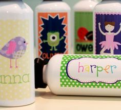 personalized water bottles -- also see clarabelle and the hen