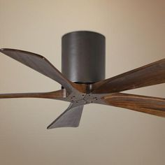 "42"" Matthews Irene 5-Blade Walnut-Bronze Hugger Ceiling Fan - #7C862 | LampsPlus.com"