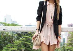 Shirt dress with blazer.